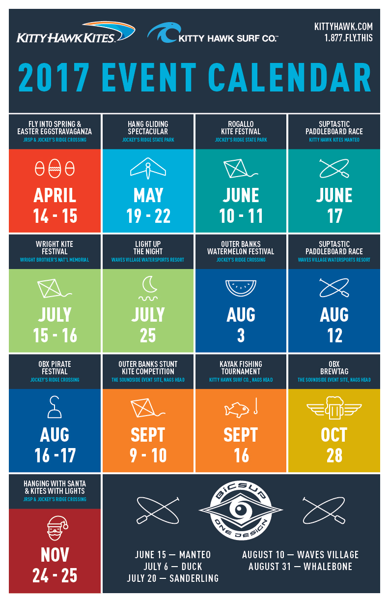 Event Calendar Design Inspiration : Event dates at kitty hawk kites outer banks yellow