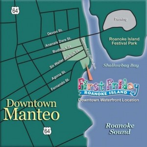 First Friday is a fun-filled, family-oriented celebration held the first Friday of each month, April-December, 6-8 p.m. on the Downtown Manteo Waterfront.