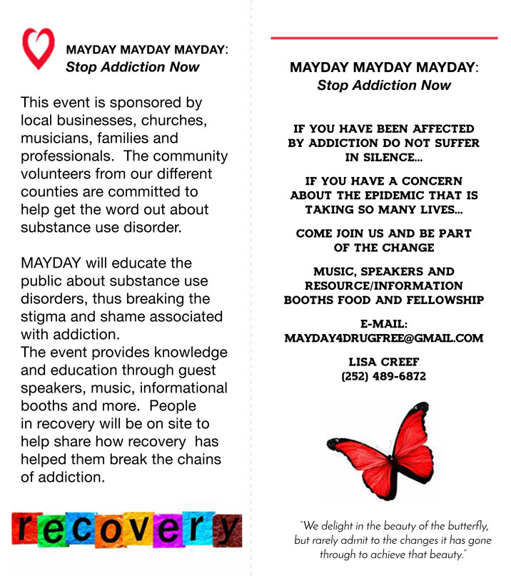 MayDay Addiction Awareness and Prevention, MayDay Festival Flyer page 2 2018