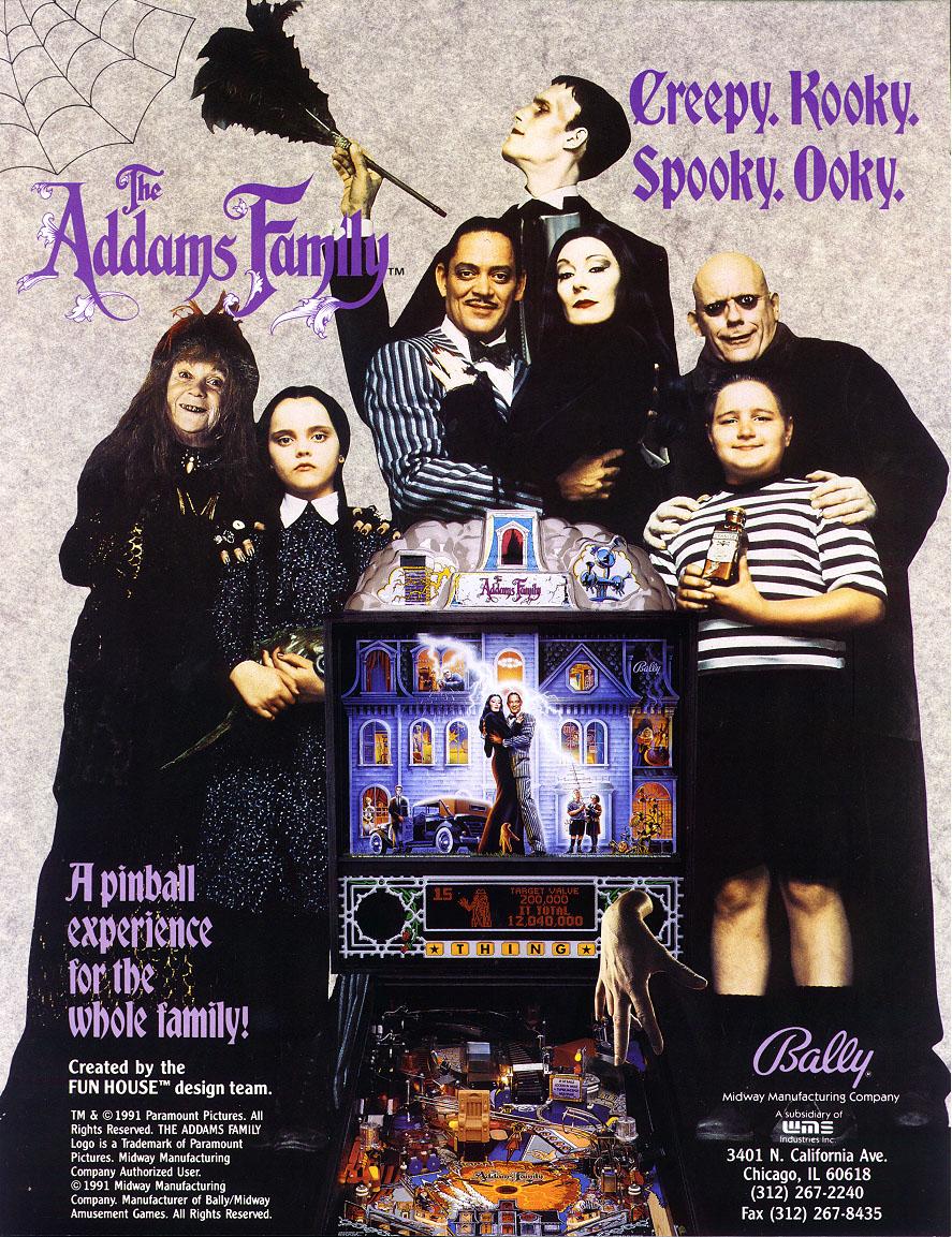 Addams Family Pinball Game at Flippers Arcade Grandy NC