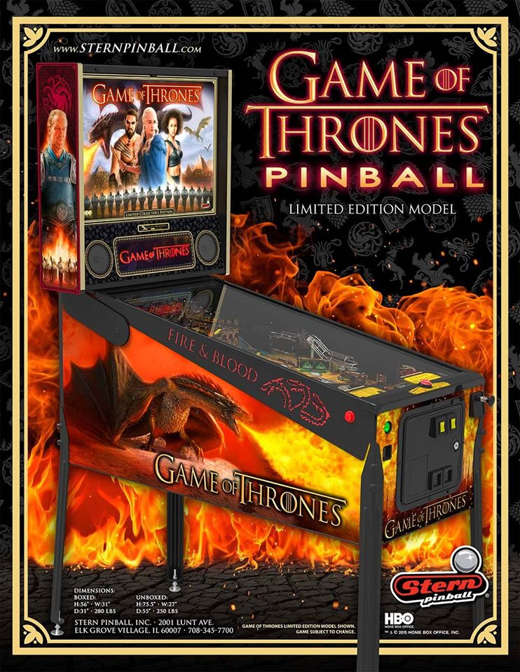 Games of Thrones Pinball Game at Flippers Arcade Grandy NC