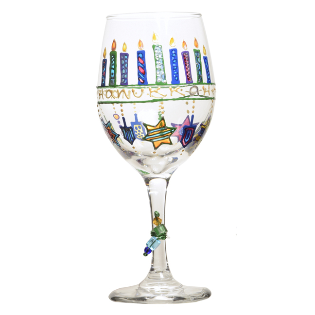 hand painted hanukkah dreidel wine glass