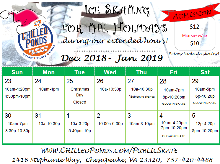Chilled Ponds 2018 Public Ice Skating Calendar
